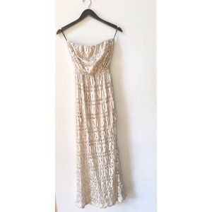 Champagne Lace Strapless Maxi Dress